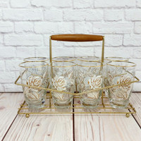 Vintage White Gold Rose Glass Cocktail Caddy Set of 8