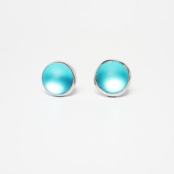 Frosted Blue  Round Button Stud Earrings - Minimal Jewelry - Gift under 10 - Mens Jewelry Mens Earrings