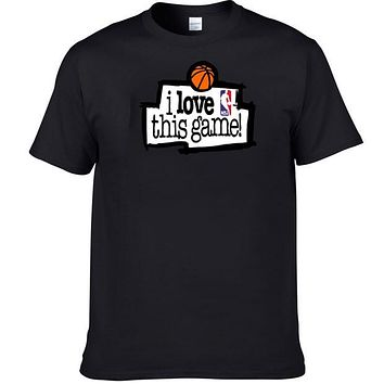 2018 New Men'S NBA I Love This Game T Shirt VINTAGE 90S Classic Basketball Tee Shirt Men 100% Cotton T-shirt