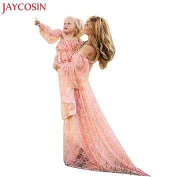 JAYCOSIN Women Pregnants Sexy Photography Props full sleeve Dress Off Shoulders Lace Nursing Long Dress Gift Feb 7 Drop Ship