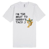 im the meat to harrys taco-Unisex White T-Shirt