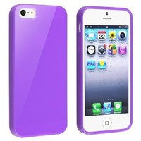 eForCity TPU Rubber Skin Case Compatible with Apple® iPhone® 5 / 5S, Purple Jelly