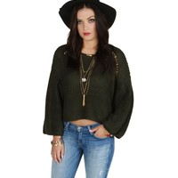 Sale-olive Bell Cropped Sweater