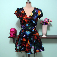 Space Print Locke Dress  Made To Order In by magiccircleclothing