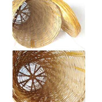 Large Vintage Woven Basket With Lid, Tall Round Market Basket, Monterey Mexico Split Bamboo Basket