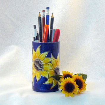 Ceramic Pencil Holder Sunflower Pencil by GrapeVineCeramicsGft
