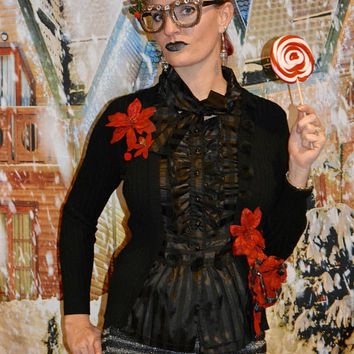 Small, Goth, Ugly Christmas Sweater, one of a kind, black, sexy, ugly xmas sweater, woman's, steam punk, s&m, halloween