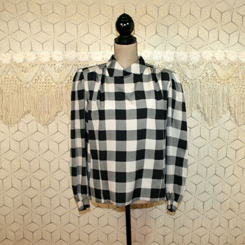 Buffalo Plaid Blouse Black and White Puff Sleeves High Neck Top Hipster Grunge Long Sleeve Blouse Large Womens Vintage Clothing