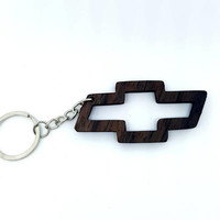 Wooden Chevrolet Logo Keychain, Car Accessories Keychain, Chevrolet Cars, Walnut Wood, Friendly Green materials