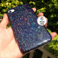 Black glitter case, hologram case, black case, black glitter iPhone 6+, 6, 5s, 5c, 5, 4s,4 phone case Samsung S5, S4, S3 phone case Glitter