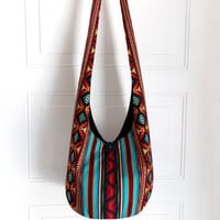 Hobo Bag, Sling Bag, Aztec, Southwestern, Geometric, Turquoise, Red, Orange, Stripes, Hippie Purse, Crossbody Bag