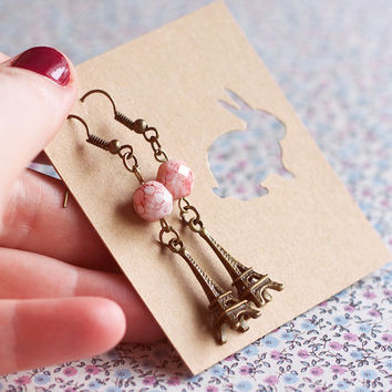 Eiffel Tower earrings.Antique brass Paris earrings.Valentines Day gift for her.Jewelry For Her Under 10.Pink gemstone jewelry earrings.