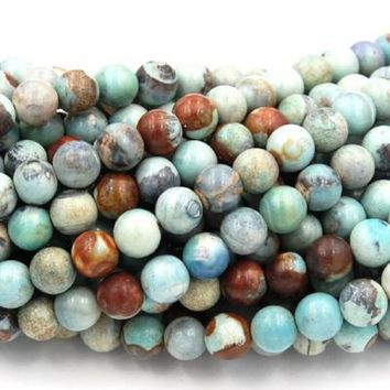 8mm Tibetan Agate Round Beads, Brown and Blue -15.5 inch strand