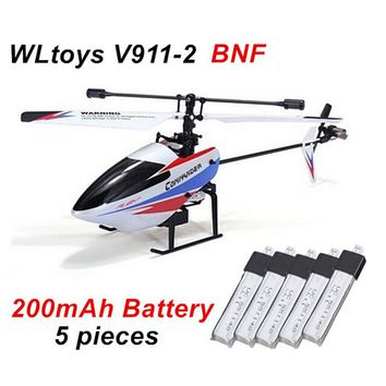 Original WLtoys V911 V2 BNF ( without remote control ) V911-2 RC Helicopter + 5 pieces * 200mAh Battery for V911 V911-2 V911-2
