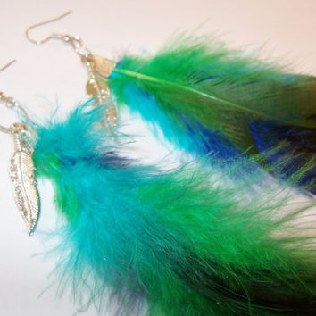 Tricolored Blue Green and Teal Feather Earrings by StrictlyCute