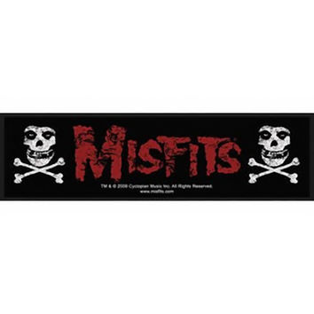 Misfits Sew On Patch Skulls Crossbones Strip Logo