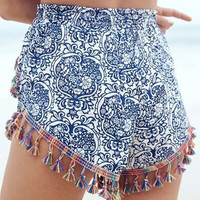 Blue and White Porcelain Print Elastic Waist Tassel Shorts