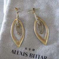 NEW Alexis Bittar Jardin Mystere Lucite Gold Swarovski Crystal Earrings $195