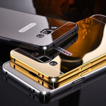 Luxury Metal Phone Case For Samsung Galaxy A310 A510 A710 A3 A5 A7 J5 J7 Prime 2016 Plating Aluminum Frame+Mirror Back Cover
