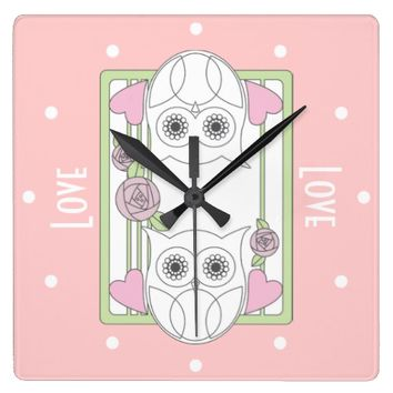 Retro Owls & Roses Personalized Girly Pink Wall Clocks: Her Birthday, Valentine's Day, or Mother's Day Gift Idea: Love