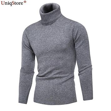UniqStore Men's Turtleneck Sweater Winter Warm Long Sleeve Soft Cozy Knit Knitting Slim Pullovers Casual Men's Top Clothes