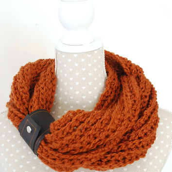 Chunky Rusty Crochet Scarf Infinity Scarf with Black Leather Cuff Wrist Cuff Women Fashion