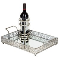 Vintage Rectangular Mirror-Top Serving Tray with Bottle Holder (Silver)