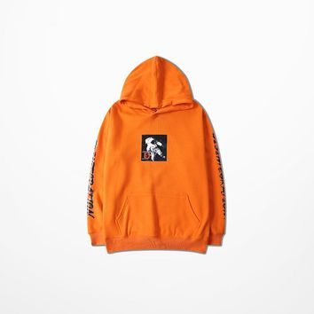 ca qiyif Astronaut Print Orange Skateboard Sweatshirt