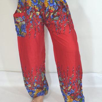 Handmade Red flowers stripes Yoga Pants/Harem/ Boho Pants/Print flowers design/elastic waist/Comfortable wear fit most/Long dress pants.