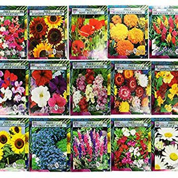 Set of 15 Black Duck Brand Heirloom Flower Seeds 15 Different Varieties Non-GMO (Variety Deluxe Flower Garden)
