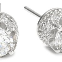 Platinum Plated Sterling Silver 100 Facets Collection Round Cubic Zirconia Stud Earrings (3.5 cttw)