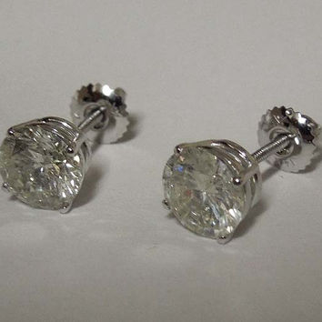 F VS1 diamonds stud earrings white gold ear ring new 4 carats