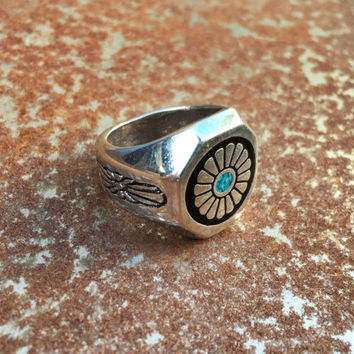 Concho Turquoise vintage biker ring