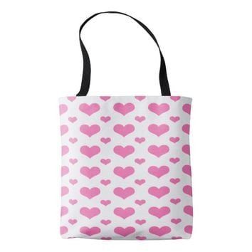 Hot Pink Hearts in a Row Custom Tote Bag