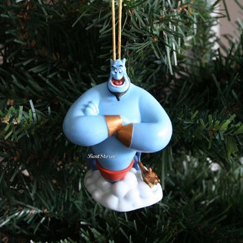 Licensed cool 2015 Disney Aladdin Movie Blue Genie & Magic Gold Lamp Christmas Ornament PVC