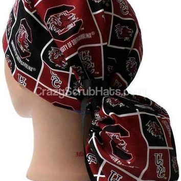 Women's Ponytail Surgical Scrub Hat Cap in USC Gamecocks Squares