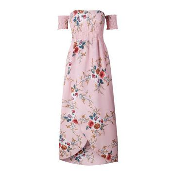 Pink Summer print long paragraph dress
