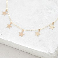 5 Star Charm Necklace - Gold