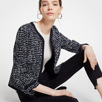 Tipped Tweed Jacket | Ann Taylor