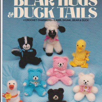 """Bear Hugs & Duck Tails pattern booklet instructions for 4 crochet stuffed toys 4.5"""" lamb, skunk, bear, duck by Betty Saxon and Luana Nelson"""