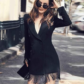 Fashion Fringe Long Sleeve Blazer