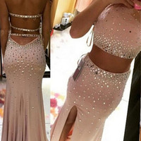 Two Pieces Mermaid Prom Dresses 2017 Halter Cystal Sexy Backless Vestido De Festa Front Split Long Pageant Evening Party Gowns