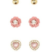 Lt Pink Rosette & Heart Stud Earrings - 3 Pack by Charlotte Russe