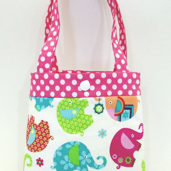 Toddler tote little girl purse elephant tote pink tote blue purse little girl birthday gift toddler gift tot tote water resistant lining