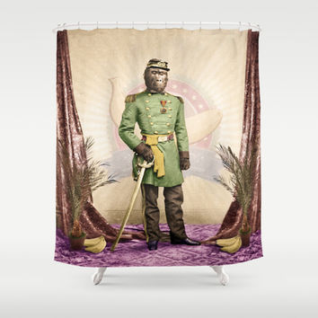General Simian of the Glorious Banana Republic Shower Curtain by Peter Gross