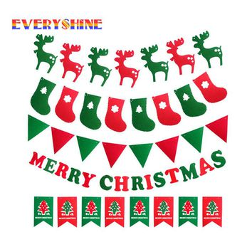 Happy New Year for 2017 Christmas Decorations Elk Socks Tree Banner Flags Hanging Ornaments Supplies SD116
