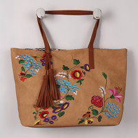 Colorful Embroidered Floral Scalloped Bag