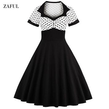 Women Summer Polka Dot Vintage Dress Fashion Party And Daily Sweetheart Neck  Defined Waist Big Swing Dress Tunic Dress Vestidos