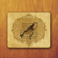 Bird Drawing Music Song Note Mouse Pad Floral Vintage Old Paper Office Deco Desk Word Pad Personalized Pad Funny Gift Personalized mat