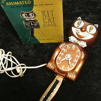 Vintage Kit Cat Clock Klock RARE Copper Color 1950s Original Box Jeweled Rhinestone Eyes Move Tail Wags Kitsch Kitschy Retro Wall Clock